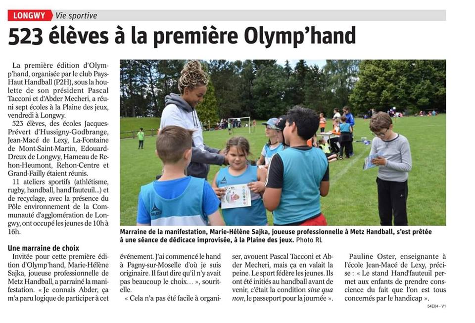 Olymp'Hand sur le Republicain Lorrain